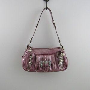 Kathy van Zeeland metallic purple shoulder bag